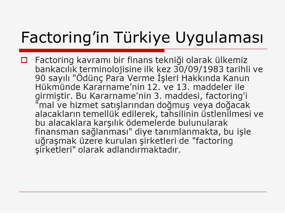 Factoring'in Türkiye Uygulaması  Factoring kavramı bir finans tekniği olarak ülkemiz bankacılık terminolojisine ilk kez 30/09/1983 tarihli ve 90 sayı