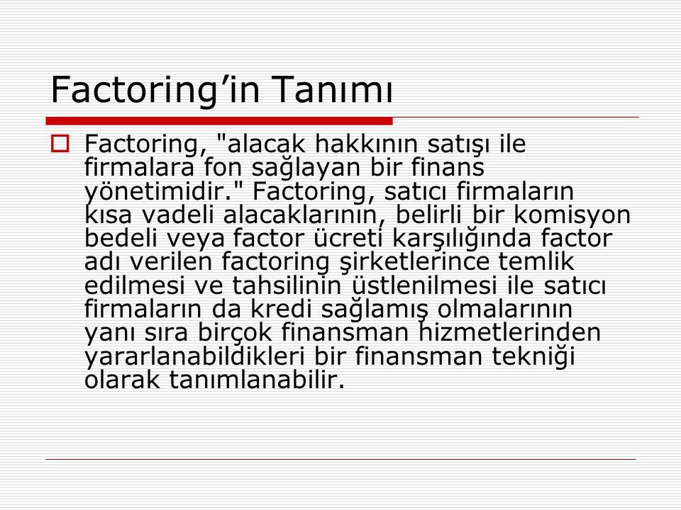 Factoring'in Tanımı  Factoring,