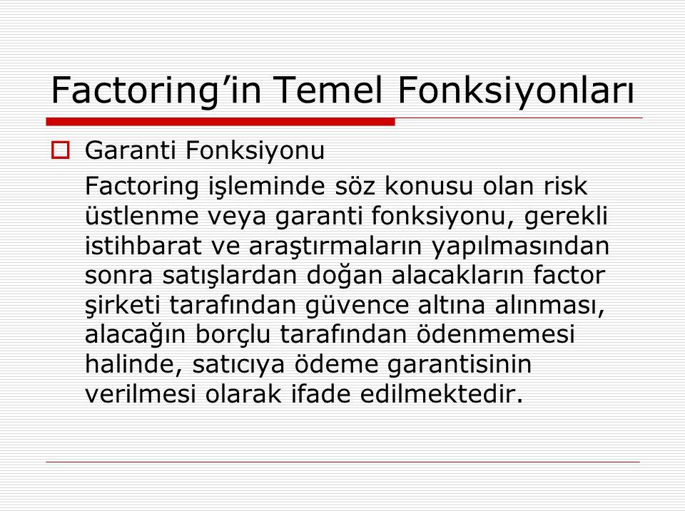 Factoring'in Temel Fonksiyonları  Garanti Fonksiyonu Factoring işleminde söz konusu olan risk üstlenme veya garanti fonksiyonu, gerekli istihbarat ve