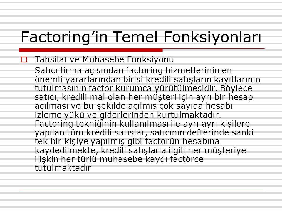 Factoring'in Temel Fonksiyonları  Tahsilat ve Muhasebe Fonksiyonu Satıcı firma açısından factoring hizmetlerinin en önemli yararlarından birisi kredi
