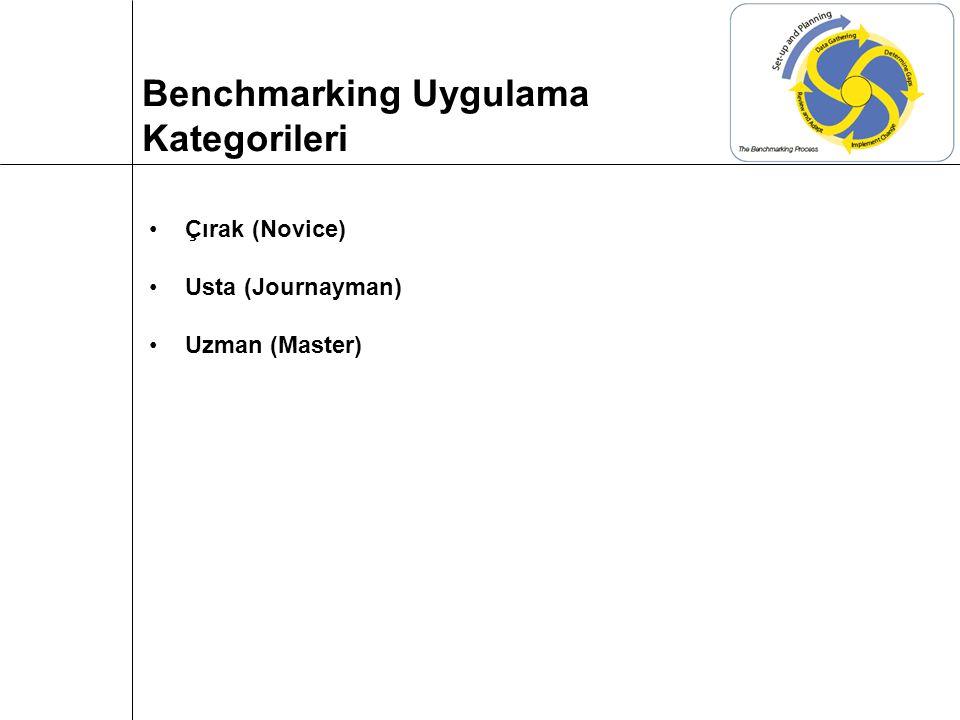 Çırak (Novice) Usta (Journayman) Uzman (Master) Benchmarking Uygulama Kategorileri