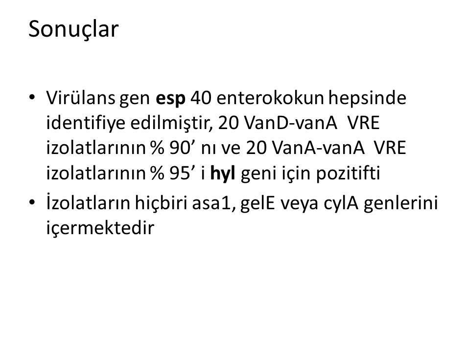 Virülans gen esp 40 enterokokun hepsinde identifiye edilmiştir, 20 VanD-vanA VRE izolatlarının % 90' nı ve 20 VanA-vanA VRE izolatlarının % 95' i hyl