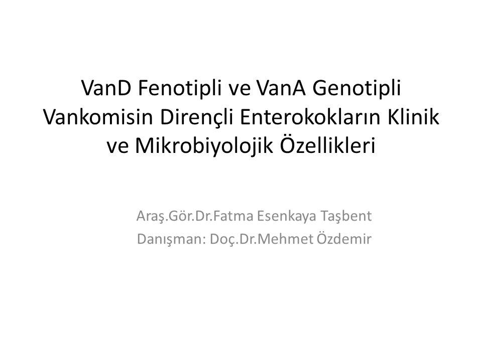 VanD Fenotipli ve VanA Genotipli Vankomisin Dirençli Enterokokların Klinik ve Mikrobiyolojik Özellikleri Araş.Gör.Dr.Fatma Esenkaya Taşbent Danışman:
