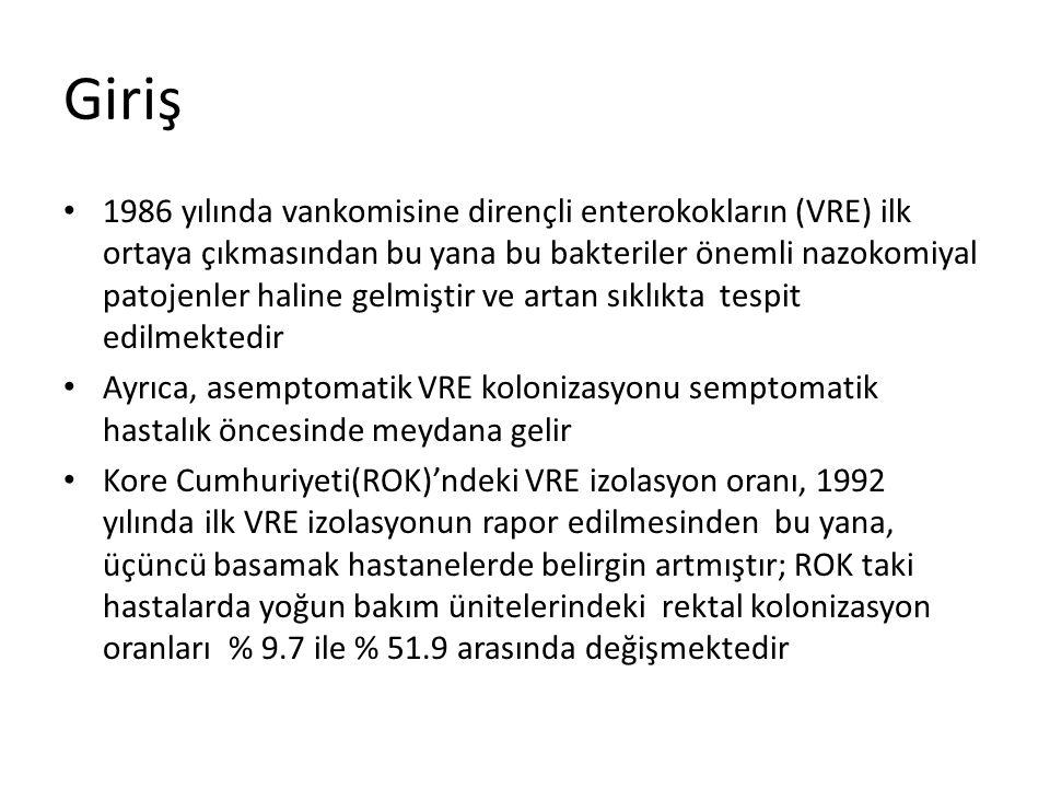 Giriş 1986 yılında vankomisine dirençli enterokokların (VRE) ilk ortaya çıkmasından bu yana bu bakteriler önemli nazokomiyal patojenler haline gelmişt
