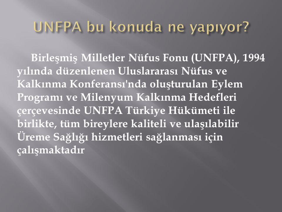 Birleşmiş Milletler Nüfus Fonu (UNFPA), 1994 yılında düzenlenen Uluslararası Nüfus ve Kalkınma Konferansı'nda oluşturulan Eylem Programı ve Milenyum K