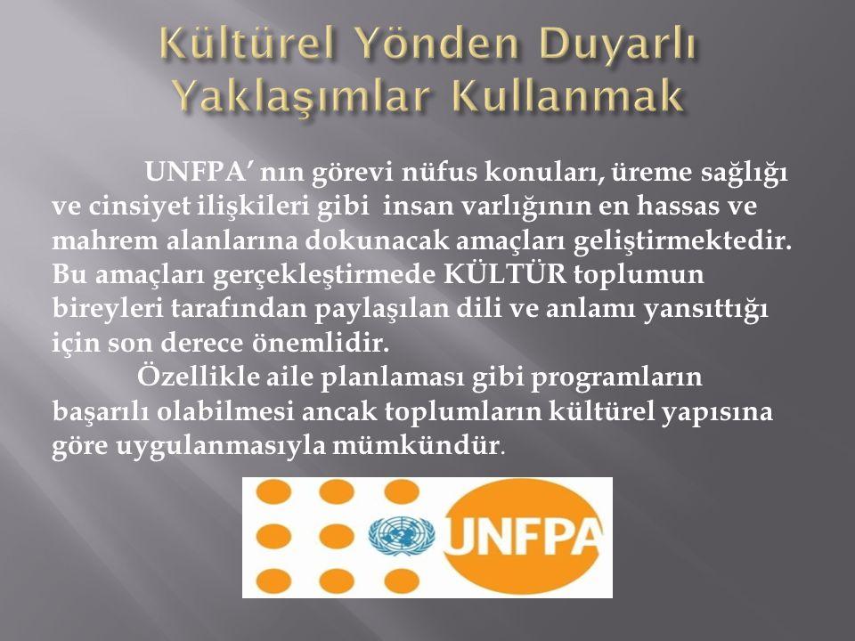 UNFPA' nın görevi nüfus konuları, üreme sağlığı ve cinsiyet ilişkileri gibi insan varlığının en hassas ve mahrem alanlarına dokunacak amaçları gelişti