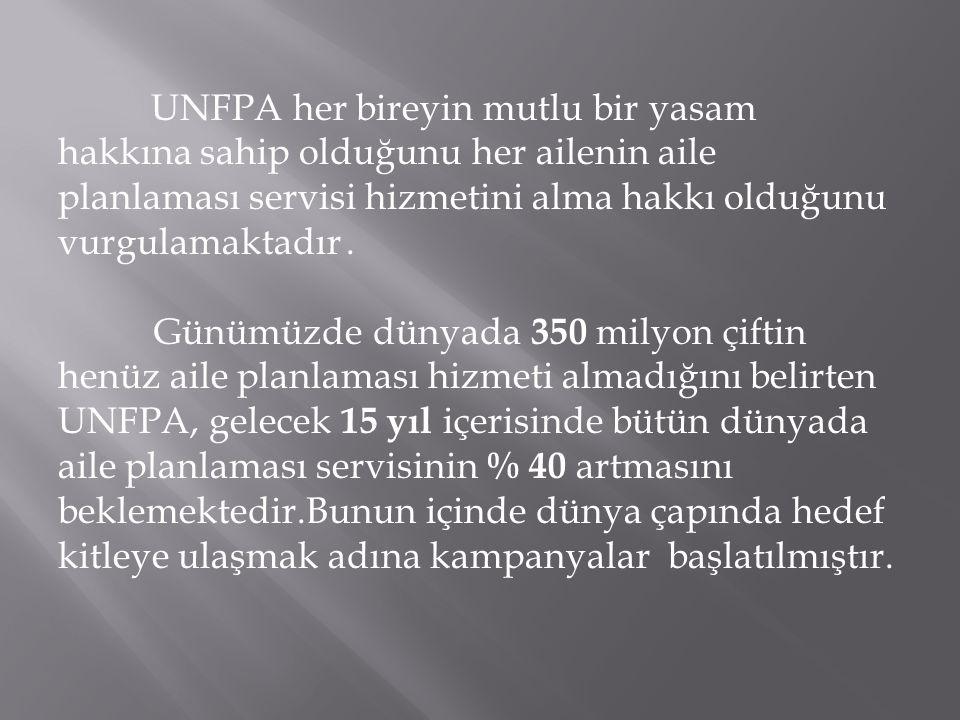UNFPA her bireyin mutlu bir yasam hakkına sahip olduğunu her ailenin aile planlaması servisi hizmetini alma hakkı olduğunu vurgulamaktadır. Günümüzde