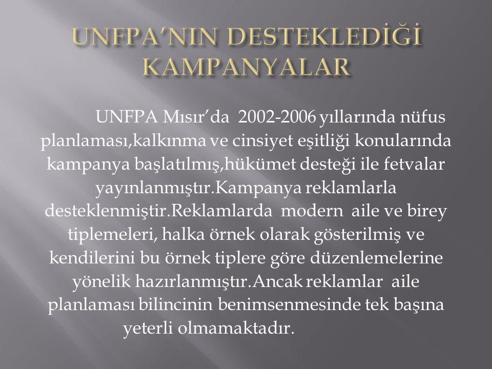 UNFPA Mısır'da 2002-2006 yıllarında nüfus planlaması,kalkınma ve cinsiyet eşitliği konularında kampanya başlatılmış,hükümet desteği ile fetvalar yayın