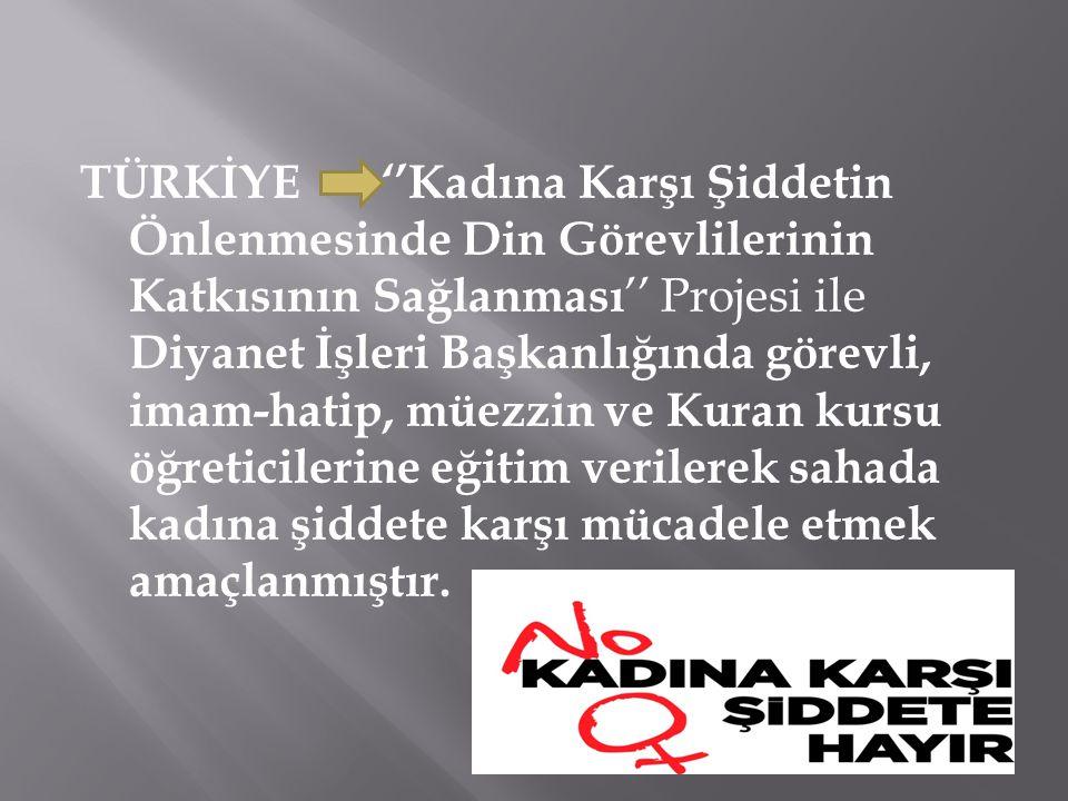 TÜRKİYE ''Kadına Karşı Şiddetin Önlenmesinde Din Görevlilerinin Katkısının Sağlanması '' Projesi ile Diyanet İşleri Başkanlığında görevli, imam-hatip,