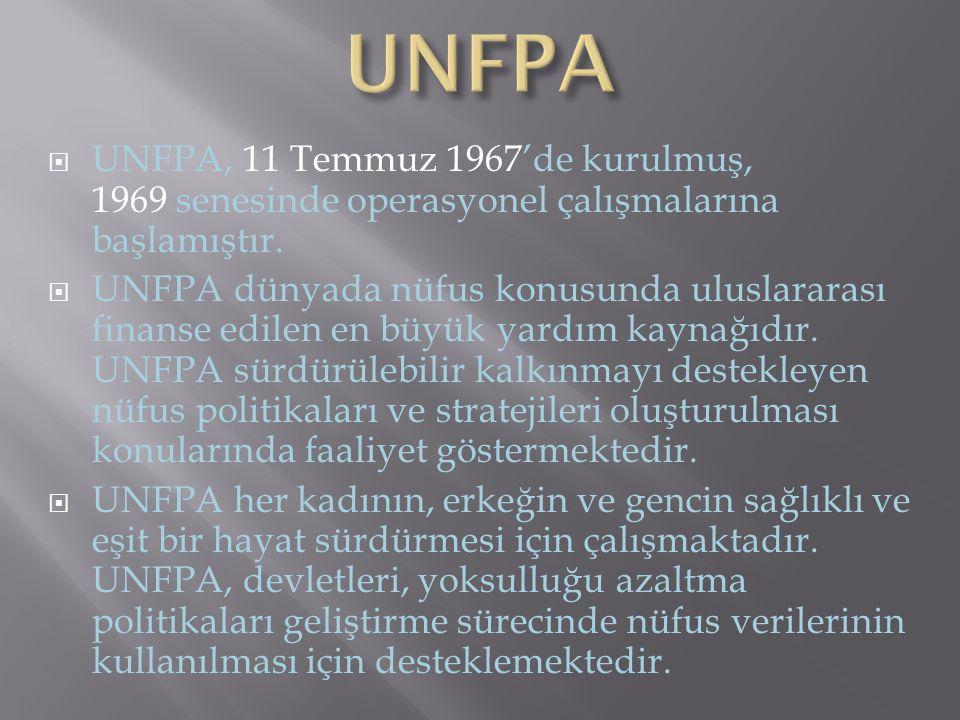  UNFPA, 11 Temmuz 1967'de kurulmuş, 1969 senesinde operasyonel çalışmalarına başlamıştır.  UNFPA dünyada nüfus konusunda uluslararası finanse edilen