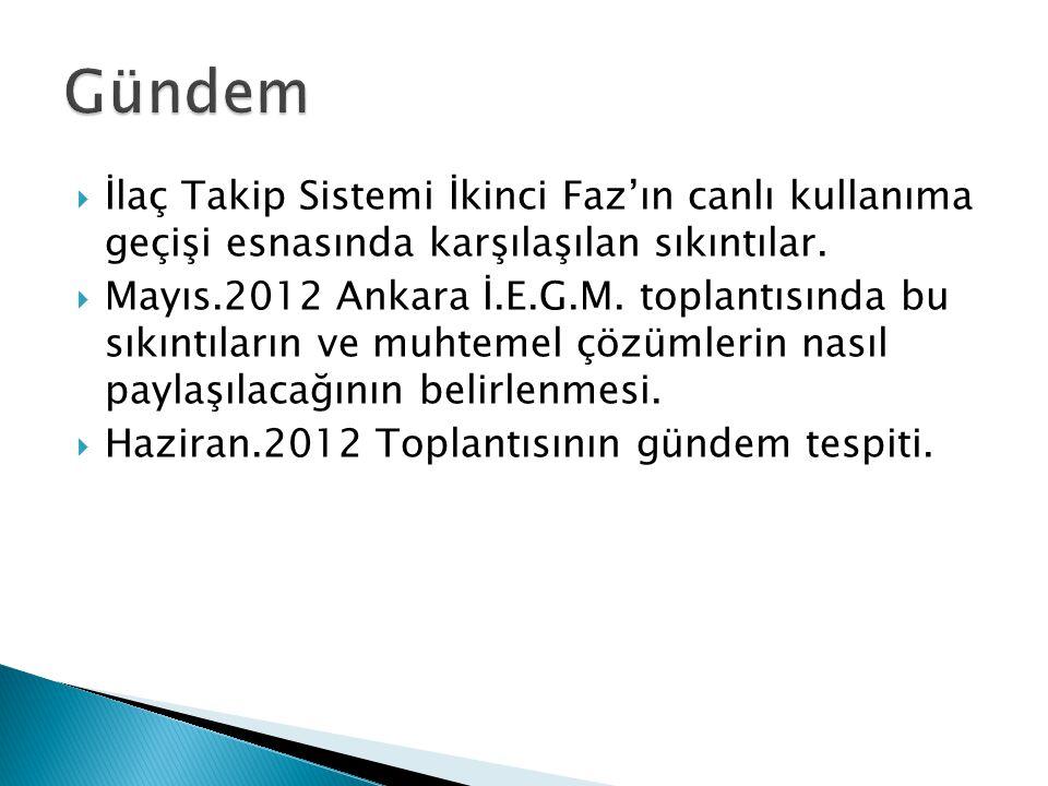  İlaç Takip Sistemi İkinci Faz'ın canlı kullanıma geçişi esnasında karşılaşılan sıkıntılar.  Mayıs.2012 Ankara İ.E.G.M. toplantısında bu sıkıntıları