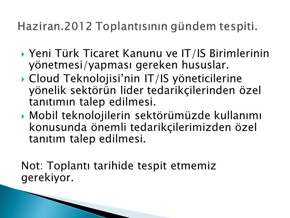  Yeni Türk Ticaret Kanunu ve IT/IS Birimlerinin yönetmesi/yapması gereken hususlar.  Cloud Teknolojisi'nin IT/IS yöneticilerine yönelik sektörün lid