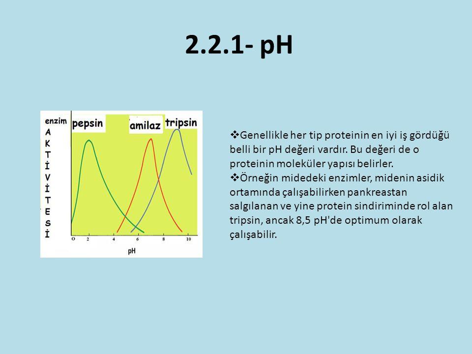 2.2.1- pH  Genellikle her tip proteinin en iyi iş gördüğü belli bir pH değeri vardır. Bu değeri de o proteinin moleküler yapısı belirler.  Örneğin m
