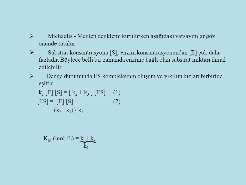  Michaelis - Menten denklemi kurulurken aşağıdaki varsayımlar göz önünde tutulur:  Substrat konsantrasyonu [S], enzim konsantrasyonundan [E] çok dah