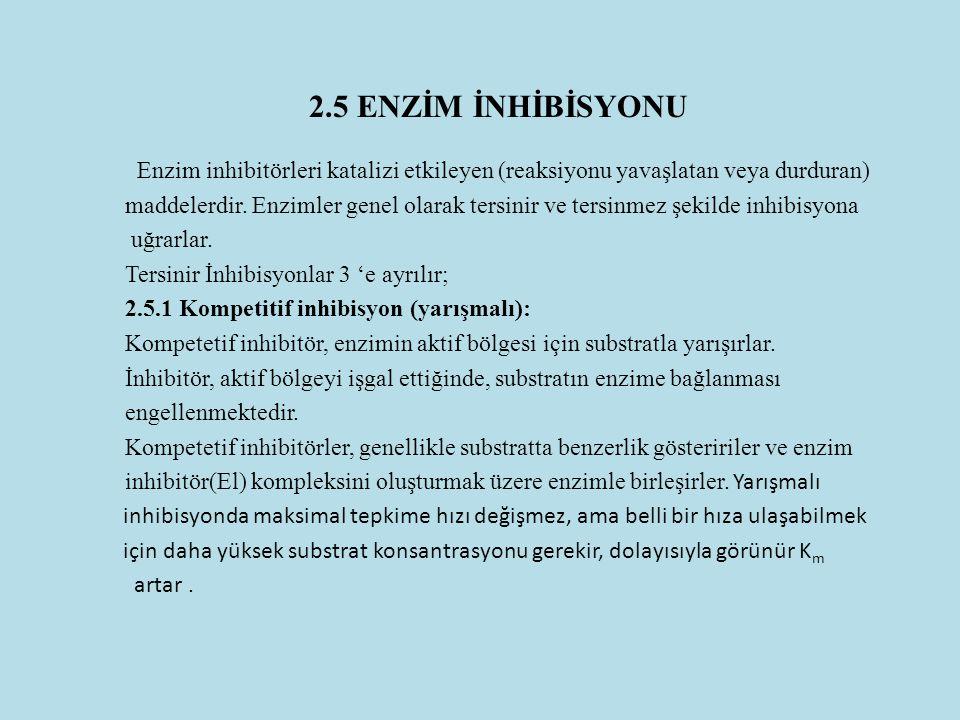 2.5 ENZİM İNHİBİSYONU Enzim inhibitörleri katalizi etkileyen (reaksiyonu yavaşlatan veya durduran) maddelerdir. Enzimler genel olarak tersinir ve ters