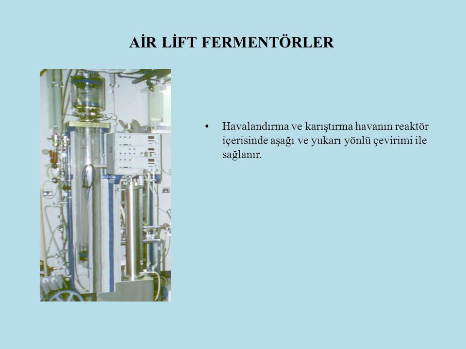 AİR LİFT FERMENTÖRLER Havalandırma ve karıştırma havanın reaktör içerisinde aşağı ve yukarı yönlü çevirimi ile sağlanır.