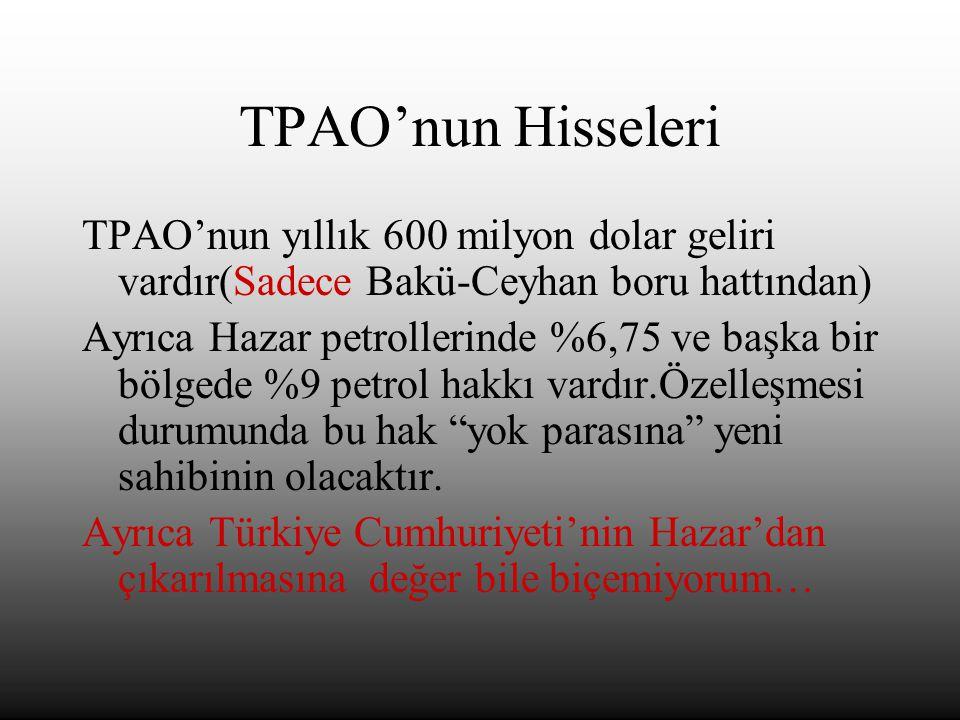 TPAO'nun Hisseleri TPAO'nun yıllık 600 milyon dolar geliri vardır(Sadece Bakü-Ceyhan boru hattından) Ayrıca Hazar petrollerinde %6,75 ve başka bir bölgede %9 petrol hakkı vardır.Özelleşmesi durumunda bu hak yok parasına yeni sahibinin olacaktır.