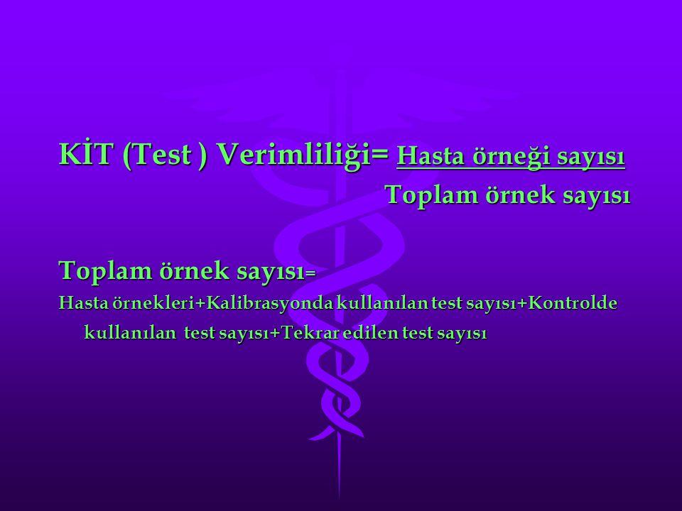 KİT (Test ) Verimliliği= Hasta örneği sayısı Toplam örnek sayısı Toplam örnek sayısı Toplam örnek sayısı = Hasta örnekleri+Kalibrasyonda kullanılan test sayısı+Kontrolde kullanılan test sayısı+Tekrar edilen test sayısı