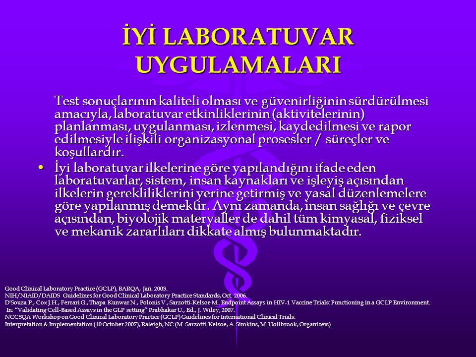 İYİ LABORATUVAR UYGULAMALARI Test sonuçlarının kaliteli olması ve güvenirliğinin sürdürülmesi amacıyla, laboratuvar etkinliklerinin (aktivitelerinin)