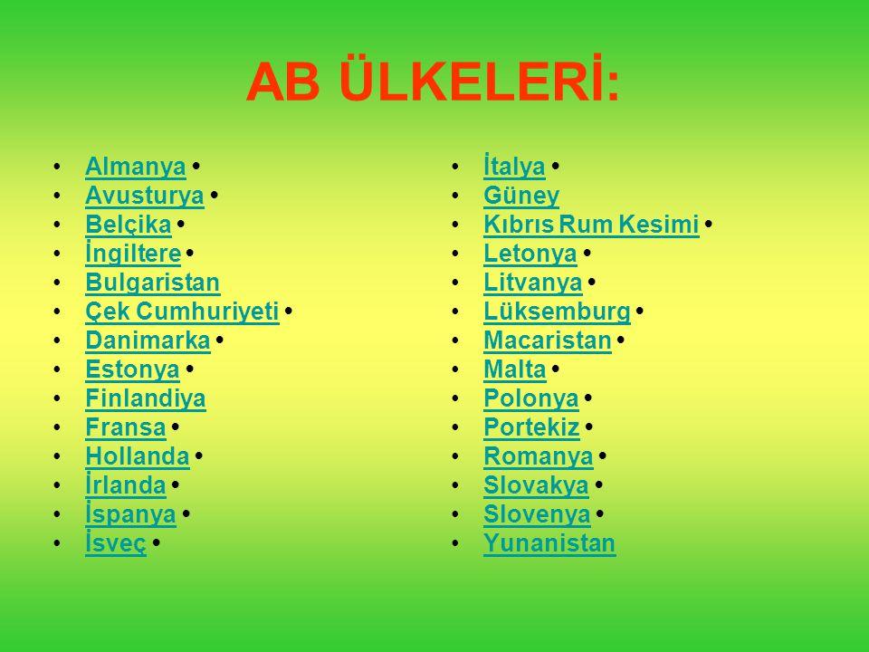 AB ÜLKELERİ: Almanya Avusturya Belçika İngiltere Bulgaristan Çek Cumhuriyeti Danimarka Estonya Finlandiya Fransa Hollanda İrlanda İspanya İsveç İtalya