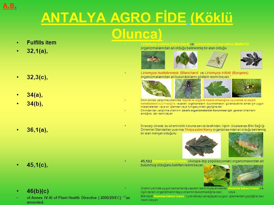 ANTALYA AGRO FİDE (Köklü Olunca) Fulfills item 32,1(a), 32,3(c), 34(a), 34(b), 36,1(a), 45,1(c), 46(b)(c) of Annex IV AI of Plant Health Directive ( 2