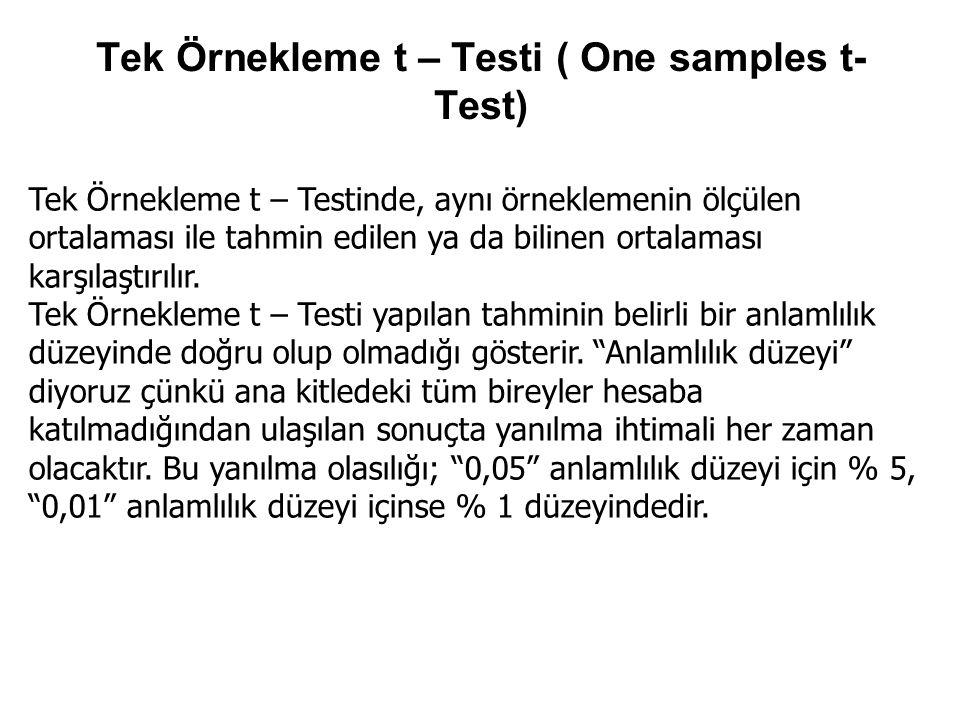 Tek Örnekleme t – Testi ( One samples t- Test) Tek Örnekleme t – Testinde, aynı örneklemenin ölçülen ortalaması ile tahmin edilen ya da bilinen ortala
