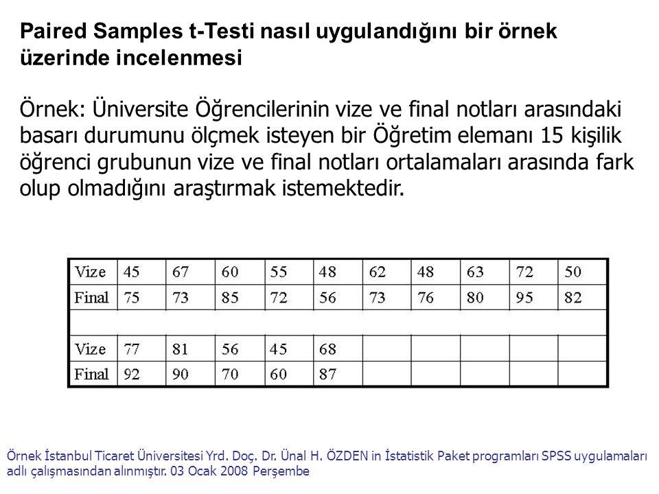 Paired Samples t-Testi nasıl uygulandığını bir örnek üzerinde incelenmesi Örnek: Üniversite Öğrencilerinin vize ve final notları arasındaki basarı dur