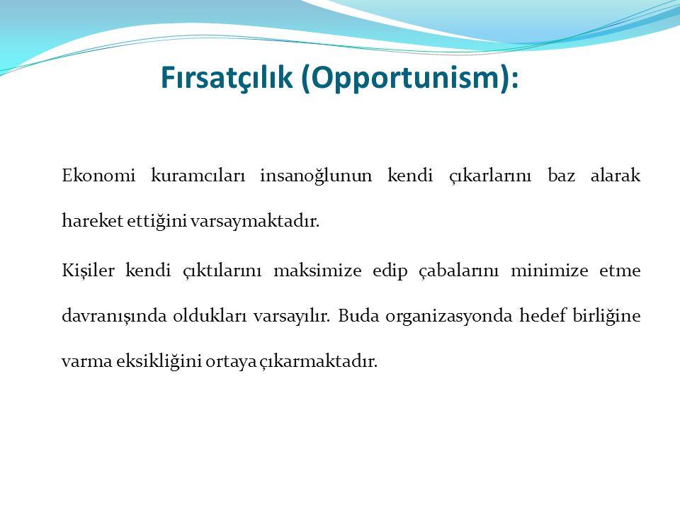 Fırsatçılık (Opportunism): Ekonomi kuramcıları insanoğlunun kendi çıkarlarını baz alarak hareket ettiğini varsaymaktadır. Kişiler kendi çıktılarını ma