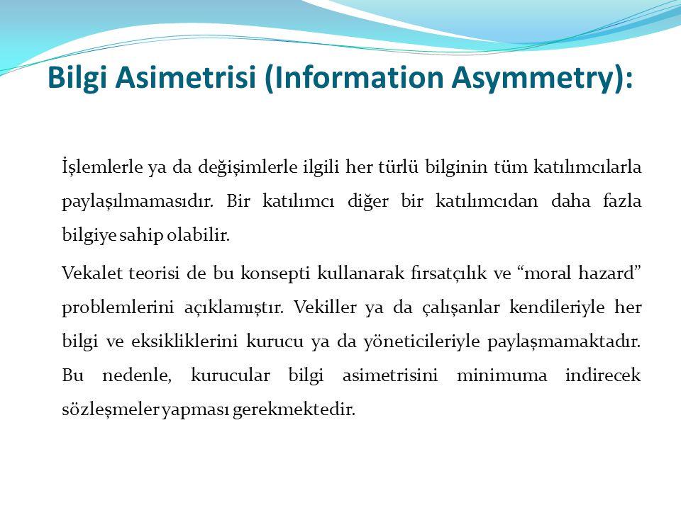 Bilgi Asimetrisi (Information Asymmetry): İşlemlerle ya da değişimlerle ilgili her türlü bilginin tüm katılımcılarla paylaşılmamasıdır. Bir katılımcı