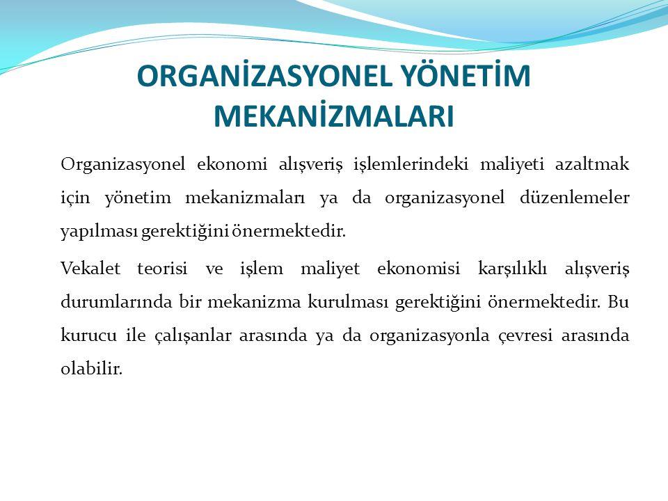 ORGANİZASYONEL YÖNETİM MEKANİZMALARI Organizasyonel ekonomi alışveriş işlemlerindeki maliyeti azaltmak için yönetim mekanizmaları ya da organizasyonel
