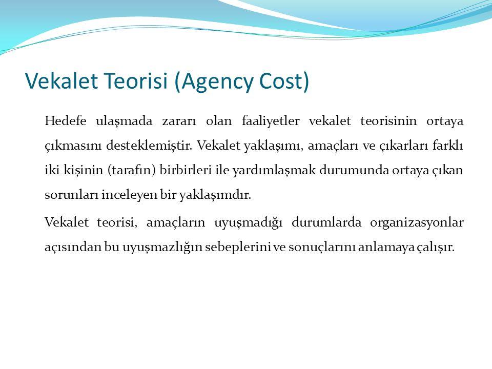 Vekalet Teorisi (Agency Cost) Hedefe ulaşmada zararı olan faaliyetler vekalet teorisinin ortaya çıkmasını desteklemiştir. Vekalet yaklaşımı, amaçları