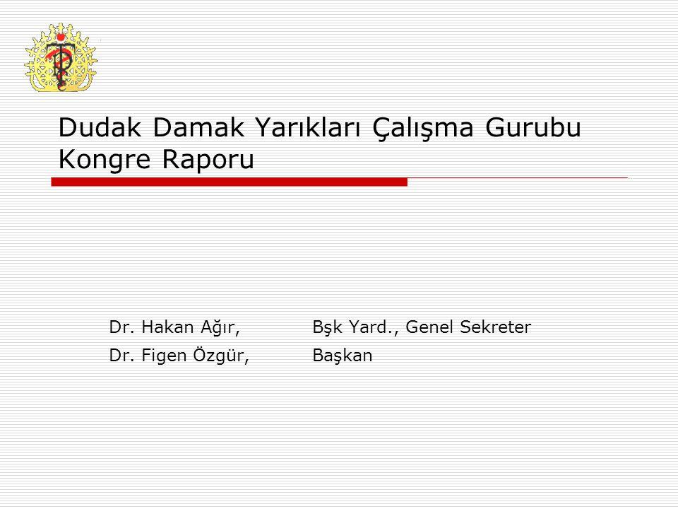 Dudak Damak Yarıkları Çalışma Gurubu Kongre Raporu Dr. Hakan Ağır,Bşk Yard., Genel Sekreter Dr. Figen Özgür,Başkan