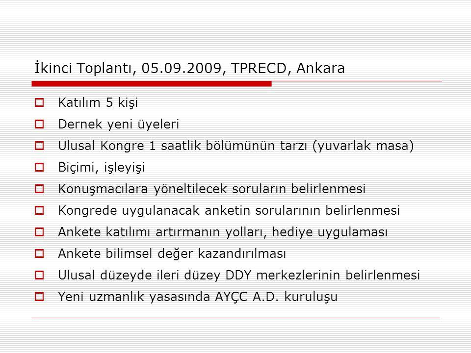İkinci Toplantı, 05.09.2009, TPRECD, Ankara  Katılım 5 kişi  Dernek yeni üyeleri  Ulusal Kongre 1 saatlik bölümünün tarzı (yuvarlak masa)  Biçimi,