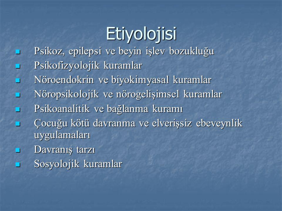 Etiyolojisi Psikoz, epilepsi ve beyin işlev bozukluğu Psikoz, epilepsi ve beyin işlev bozukluğu Psikofizyolojik kuramlar Psikofizyolojik kuramlar Nöro