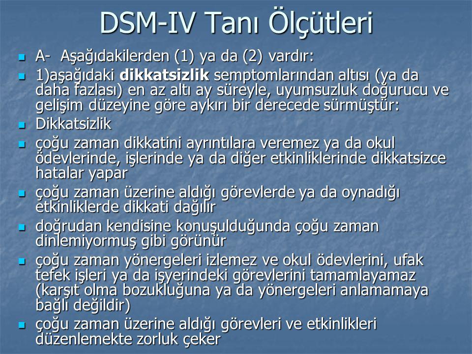 DSM-IV Tanı Ölçütleri A- Aşağıdakilerden (1) ya da (2) vardır: A- Aşağıdakilerden (1) ya da (2) vardır: 1)aşağıdaki dikkatsizlik semptomlarından altıs