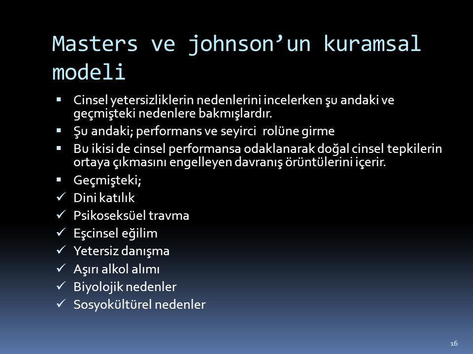 Masters ve johnson'un kuramsal modeli  Cinsel yetersizliklerin nedenlerini incelerken şu andaki ve geçmişteki nedenlere bakmışlardır.  Şu andaki; pe