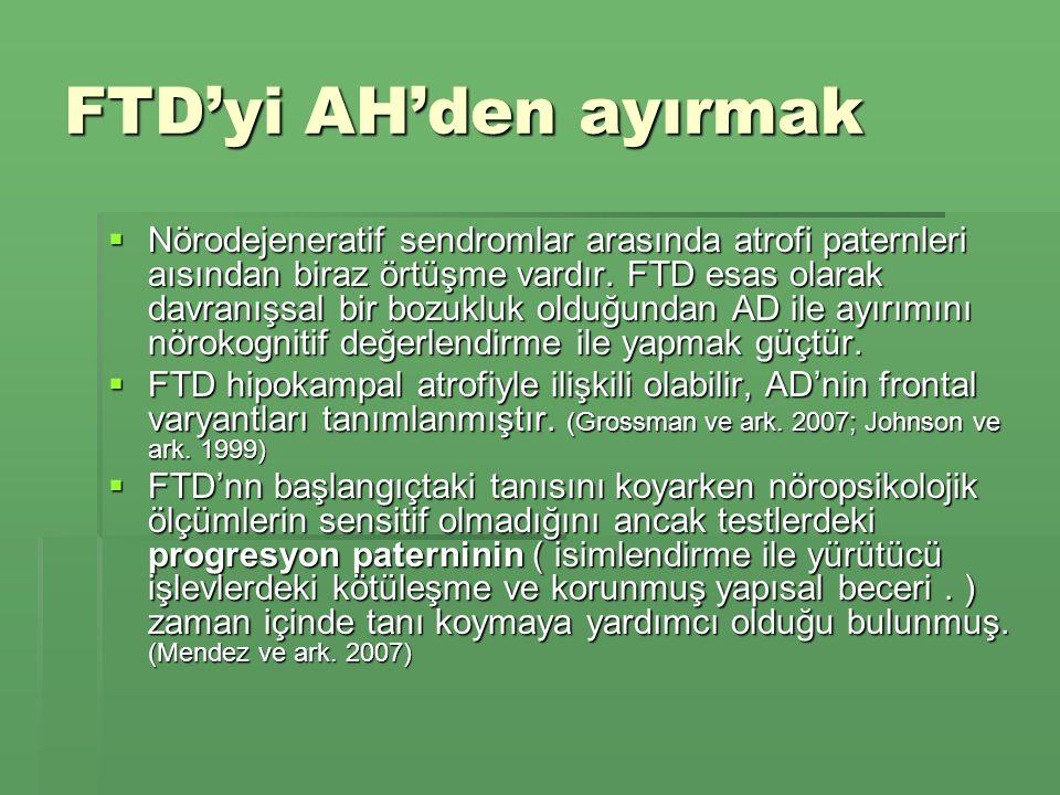 FTD'yi AH'den ayırmak  Nörodejeneratif sendromlar arasında atrofi paternleri aısından biraz örtüşme vardır.