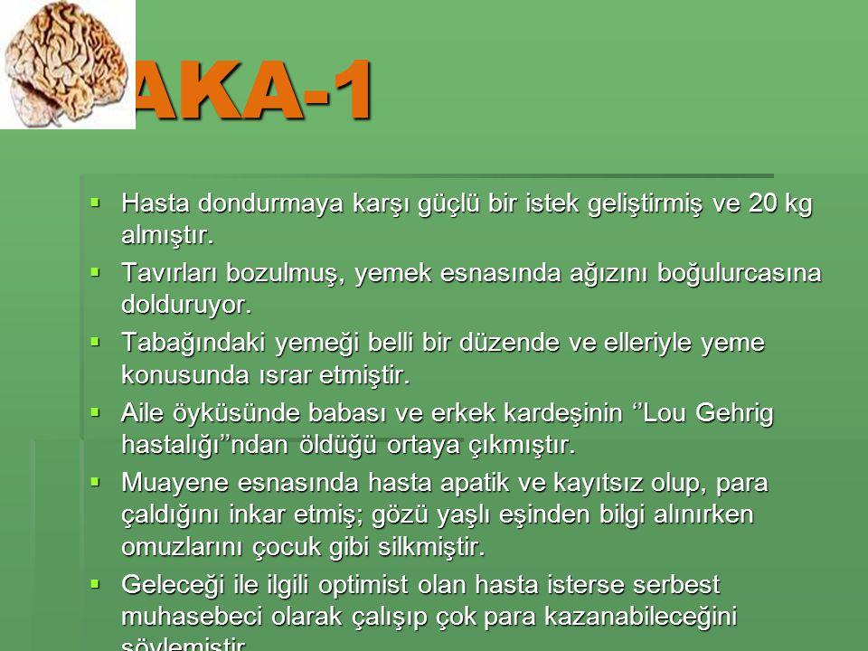 VAKA-1  Hasta dondurmaya karşı güçlü bir istek geliştirmiş ve 20 kg almıştır.