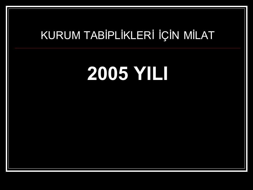 KURUM TABİPLİKLERİ İÇİN MİLAT 2005 YILI