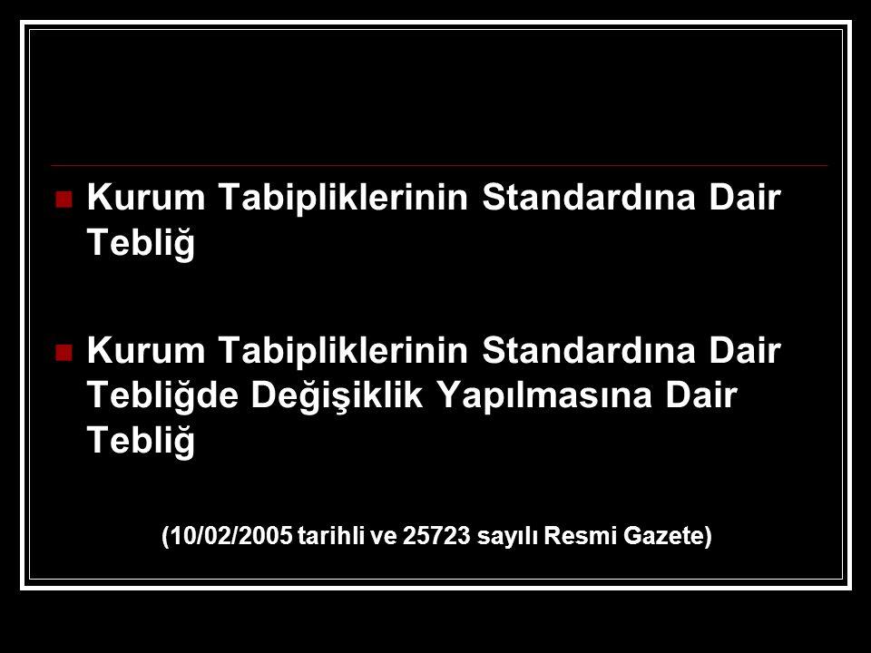 Kurum Tabipliklerinin Standardına Dair Tebliğ Kurum Tabipliklerinin Standardına Dair Tebliğde Değişiklik Yapılmasına Dair Tebliğ (10/02/2005 tarihli v