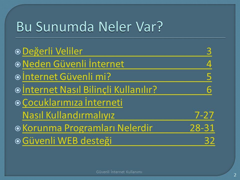  Değerli Veliler3 Değerli Veliler3  Neden Güvenli İnternet4 Neden Güvenli İnternet4  İnternet Güvenli mi?5 İnternet Güvenli mi?5  İnternet Nasıl B