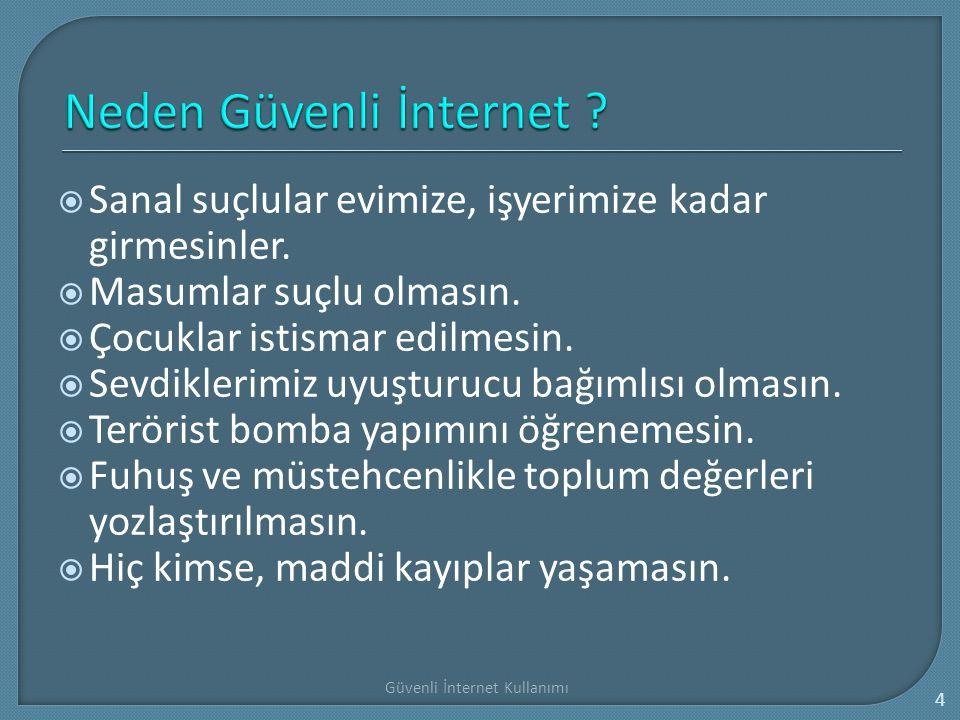 Güvenli İnternet Kullanımı 15 Çocuğunuzun Internet ortamında güvenliğini sağlamak ve zararlı içeriklerden korumak amacıyla gerekli güvenlik ve filtreleme programlarını edininiz.