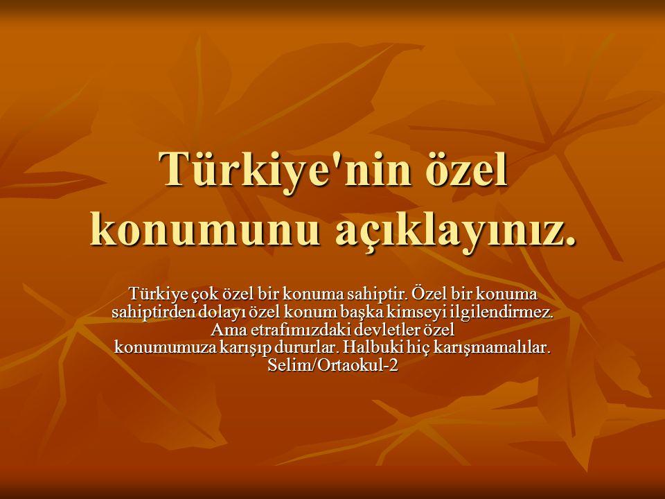 Türkiye'nin özel konumunu açıklayınız. Türkiye çok özel bir konuma sahiptir. Özel bir konuma sahiptirden dolayı özel konum başka kimseyi ilgilendirmez