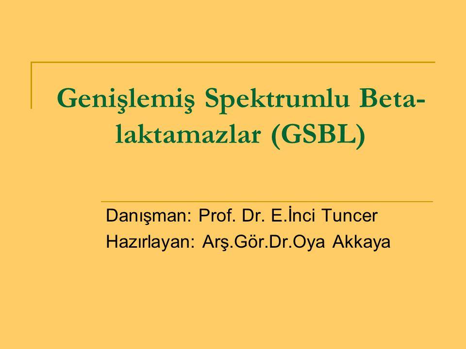 GSBL doğrulama testleri test-GSBL pozitif E-testte Sefotaksim/klavulanik asit kombinasyonunun MİK değerinde sefotaksim MİK değerine göre 8 kat ve üzerinde azalma varsa Fantom zonu varsa Sefotaksim veya seftazidim elipsinde deformasyon varsa ESBL pozitif(+) kabul edilir