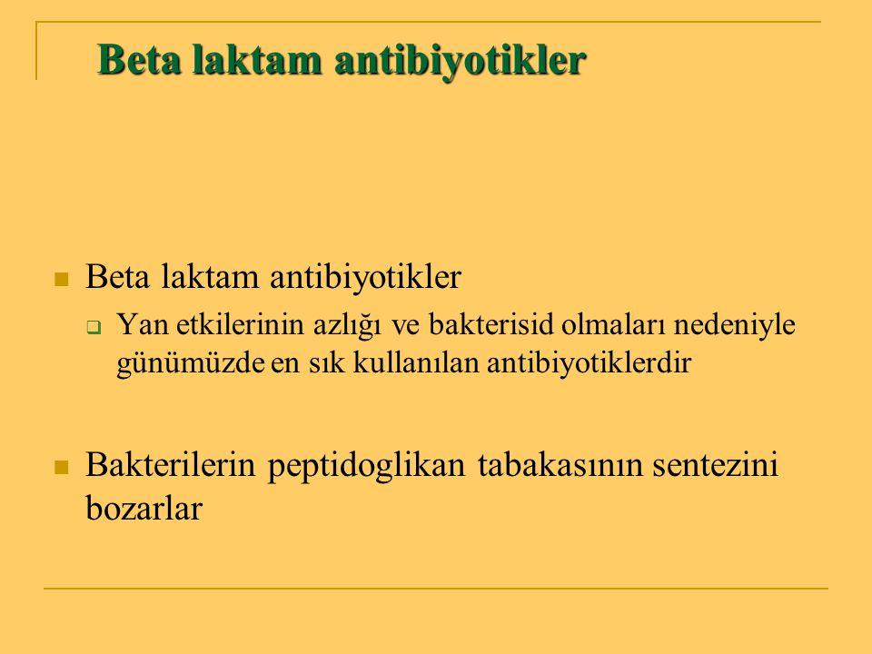 Beta laktam antibiyotikler Penisilinler Penisilinler Sefalosporinler Sefalosporinler Karbapenemler Karbapenemler Monobaktamlar Monobaktamlar β laktamaz inhibitörleri β laktamaz inhibitörleri