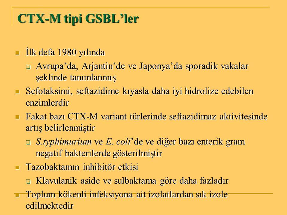 CTX-M tipi GSBL'ler İlk defa 1980 yılında İlk defa 1980 yılında  Avrupa'da, Arjantin'de ve Japonya'da sporadik vakalar şeklinde tanımlanmış Sefotaksi