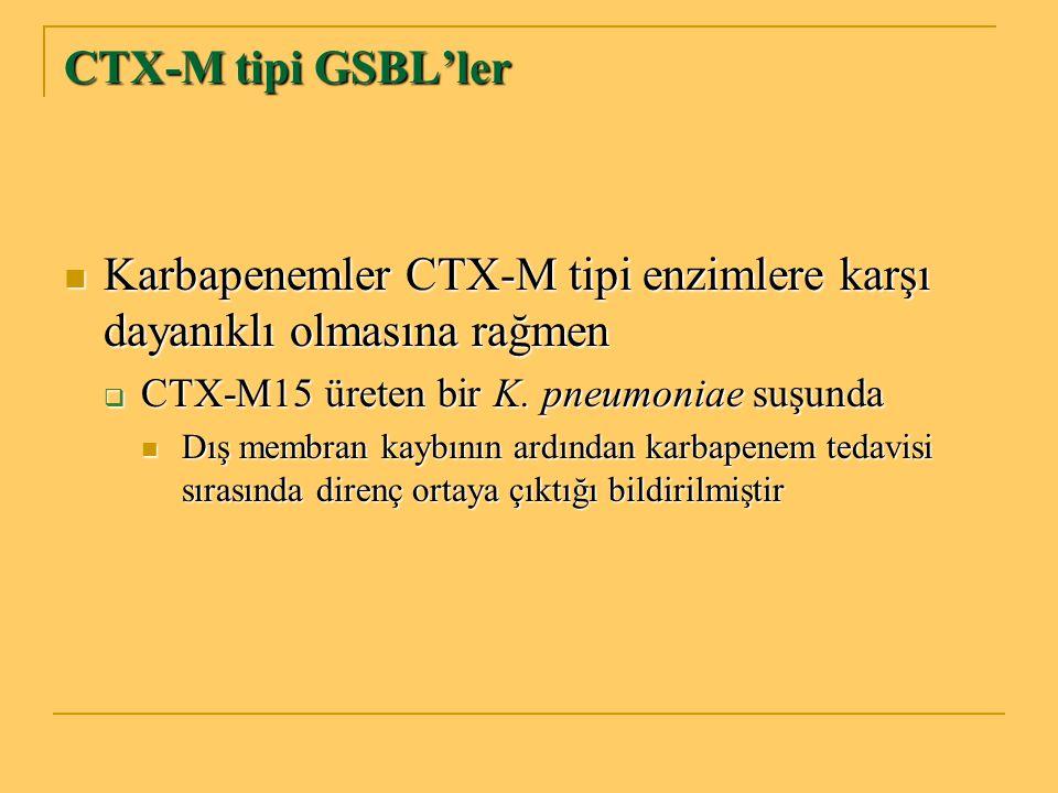 CTX-M tipi GSBL'ler Karbapenemler CTX-M tipi enzimlere karşı dayanıklı olmasına rağmen Karbapenemler CTX-M tipi enzimlere karşı dayanıklı olmasına rağ