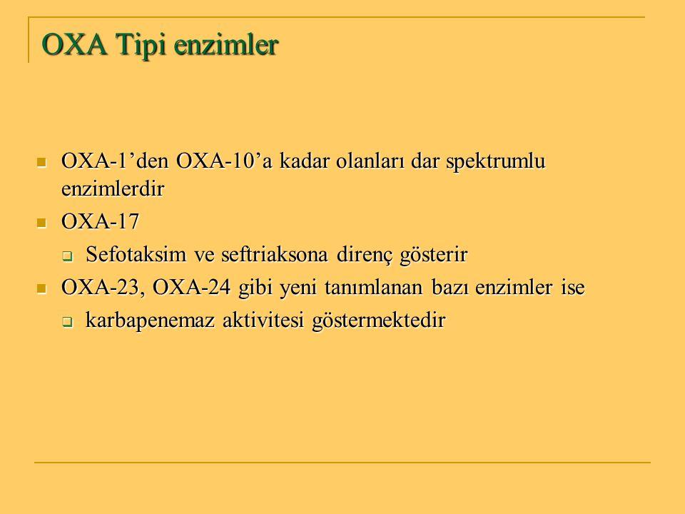 OXA Tipi enzimler OXA-1'den OXA-10'a kadar olanları dar spektrumlu enzimlerdir OXA-1'den OXA-10'a kadar olanları dar spektrumlu enzimlerdir OXA-17 OXA