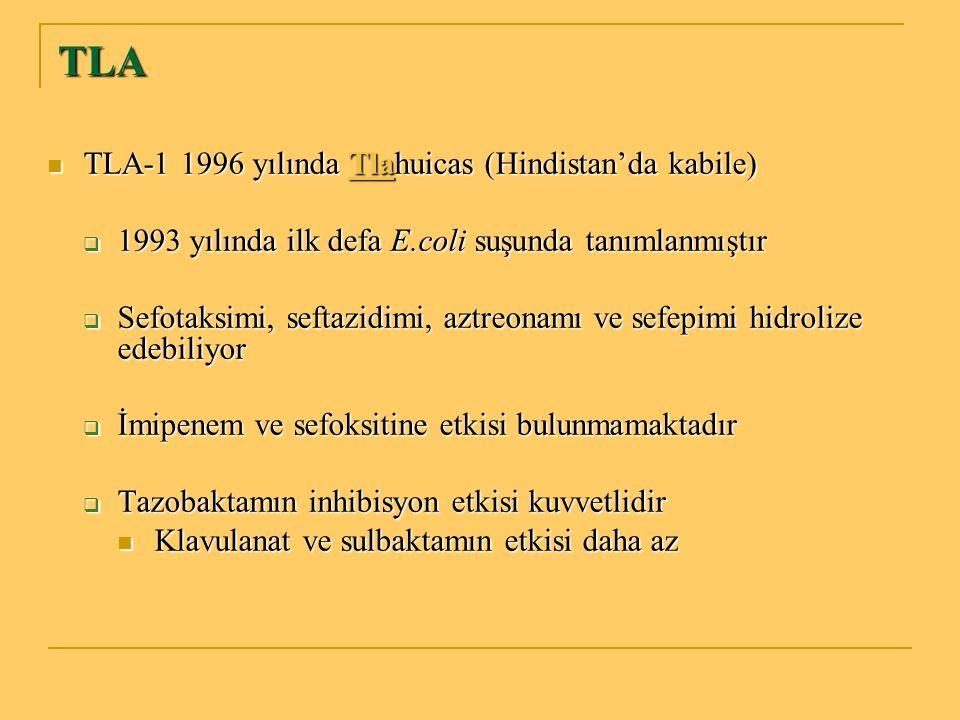 TLA TLA-1 1996 yılında Tlahuicas (Hindistan'da kabile) TLA-1 1996 yılında Tlahuicas (Hindistan'da kabile)  1993 yılında ilk defa E.coli suşunda tanım