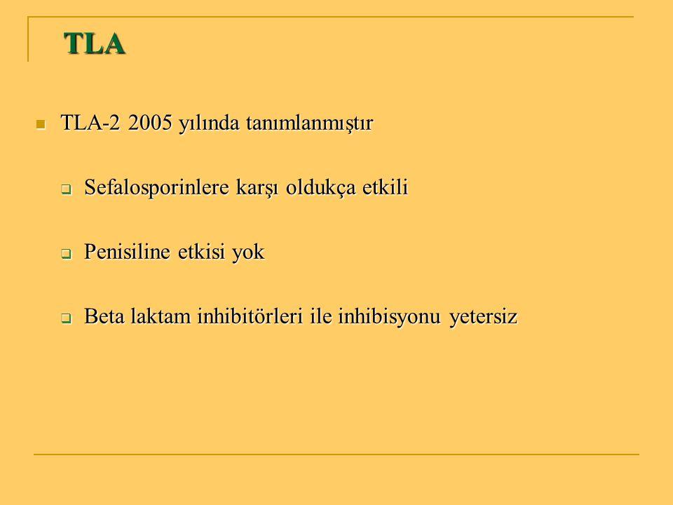 TLA TLA TLA-2 2005 yılında tanımlanmıştır TLA-2 2005 yılında tanımlanmıştır  Sefalosporinlere karşı oldukça etkili  Penisiline etkisi yok  Beta lak